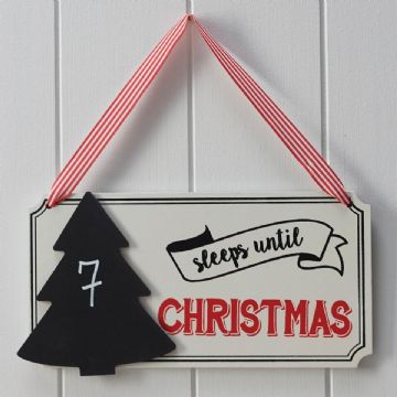 Sleeps Until Santa Chalkboard Countdown Sign